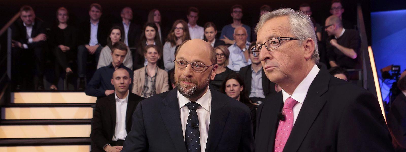 Martin Schulz und Jean-Claude Juncker im EU-Wahlkampffieber