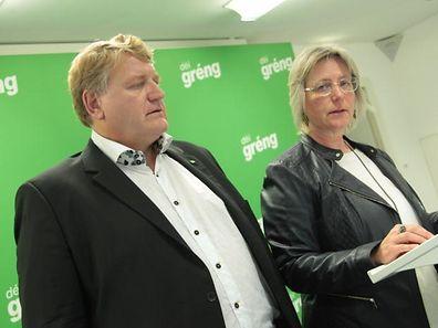 Die Vorsitzenden von Déi Gréng, Christian Kmiotek und Françoise Folmer, ziehen eine positive Halbszeitbilanz.