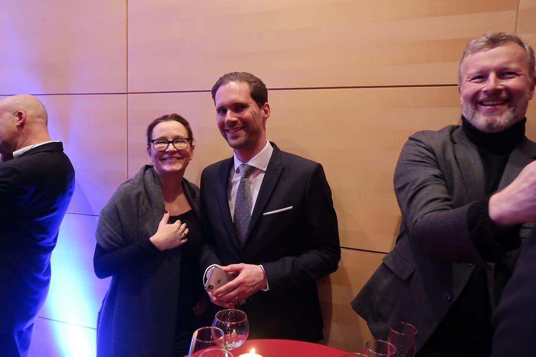 Alexandra Hoesdorff, Gauthier Destenay et Paul Lesch, directeur du Centre national de l'audiovisuel.