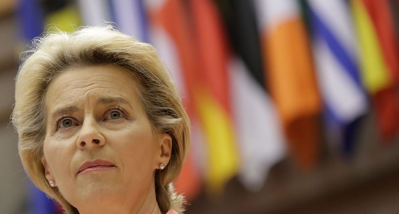 European Commission President Ursula Von Der Leyen  addresses her first state of the union speech during a plenary session at the European Union Parliament in Brussels on September 16, 2020. (Photo by OLIVIER HOSLET / POOL / AFP)