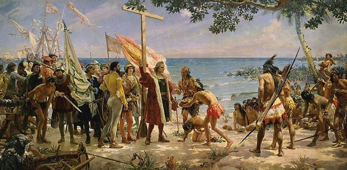 """O quadro que """"mostra"""" a chegada de Cristovão Colombo ao novo mundo, em 1492."""