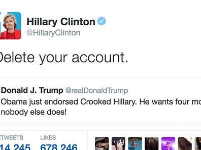 Klare Ansage: Clintons Aufforderung an Trump, mit dem Twittern aufzuhören, wurde über 500.000 Mal retweetet.