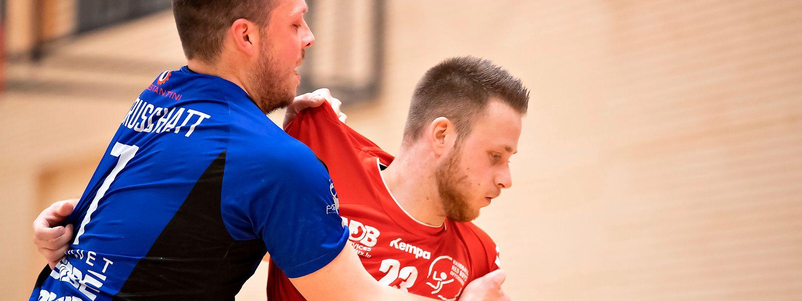 Der Düdelinger Dan Mauruschatt (l.) und Daniel Scheid (Red Boys) treffen am Samstag nicht aufeinander.