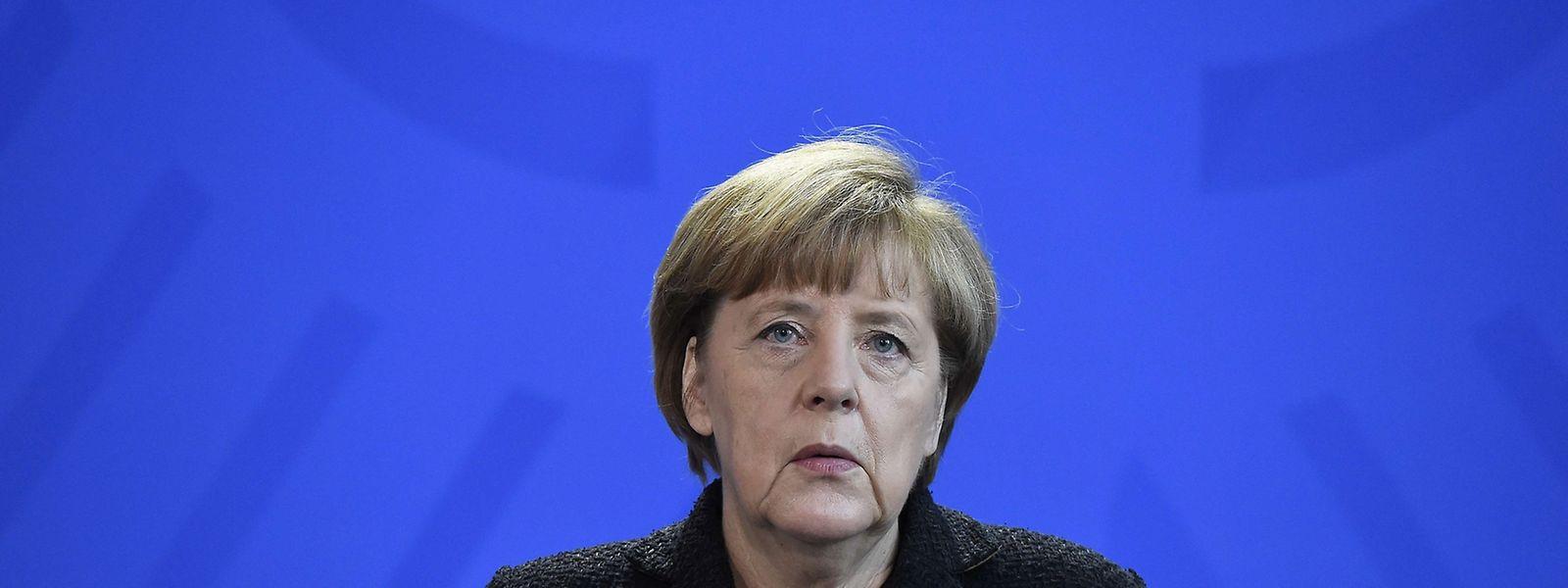 Bundeskanzlerin Angela Merkel bei ihrer Presseansprache in Berlin.