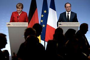François Hollande et Angela Merkel en conférence de presse jeudi 7 avril à Metz