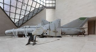 Roger Hiorns' sculptural installation of a Russian Mig plane encircled with plastic tubing
