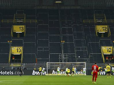 Football Soccer - Borussia Dortmund v VFL Wolfsburg - German Bundesliga - Signal Iduna Park stadium, Germany - 18/02/17 - Borussia Dortmund v VFL Wolfsburg in front of the empty southern stands due to a one-match ban for Dortmund fans.    REUTERS/Thilo Schmuelgen           DFL RULES TO LIMIT THE ONLINE USAGE DURING MATCH TIME TO 15 PICTURES PER GAME. IMAGE SEQUENCES TO SIMULATE VIDEO IS NOT ALLOWED AT ANY TIME. FOR FURTHER QUERIES PLEASE CONTACT DFL DIRECTLY AT + 49 69 650050