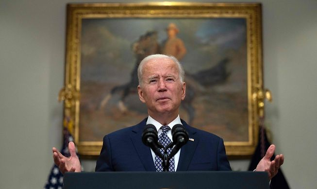 US President Joe Biden speaks about the ongoing evacuation of Afghanistan from the White House in Washington