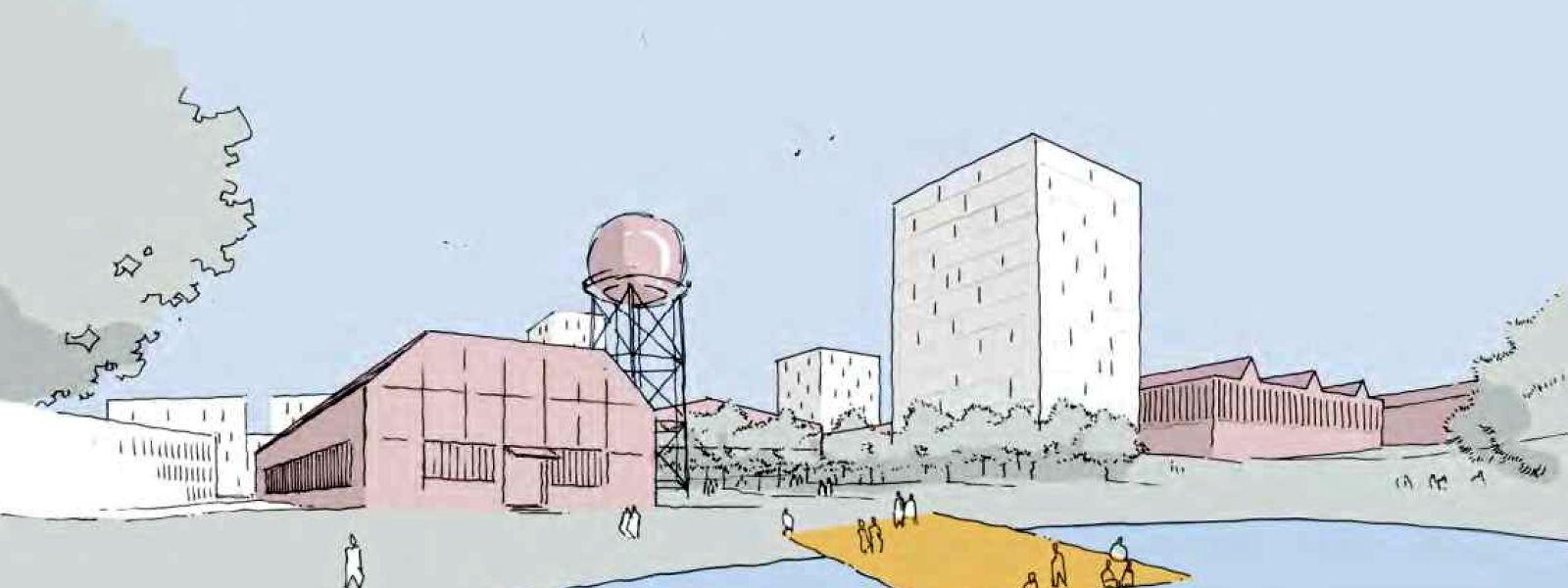 Erste Skizzen zeigen, wie das Areal des Schifflinger Stahlwerks zu einem neuen Viertel umgebaut werden könnte.