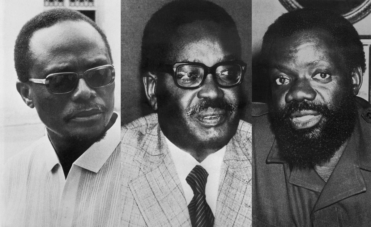 Holden Roberto, da FNLA, Agostinho Neto, do MPLA, e Jonas Savimbi, da UNITA, os três líderes que lutaram pela independência do país e mais tarde pelo poder em Angola