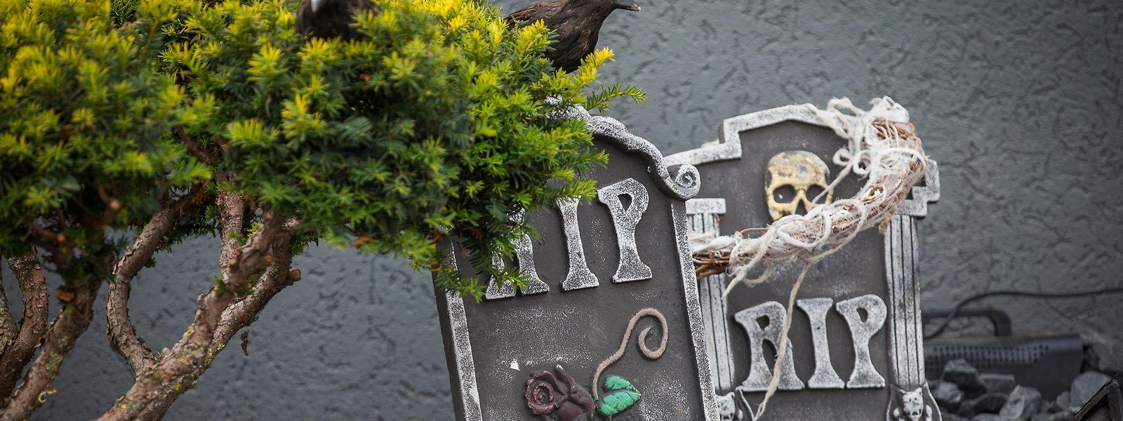 Zur Halloween-Zeit richtet die Familie Morais-Lopes Grabsteine im Vorgarten auf.