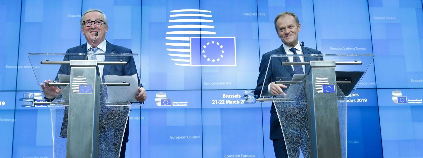 Wer zuletzt lacht... Jean-Claude Juncker und Donald Tusk bei der Pressekonferenz zum Brexit-Gipfel.