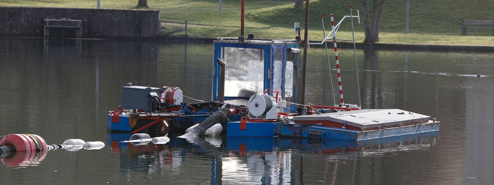 Der rot-weiß-blaue Schwimmbagger einer niederländischen Spezialfirma  reinigt die künftige Badezone in der Nähe der Jugendherberge.