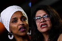 "(COMBO) This combination of pictures created on August 15, 2019 shows Democrat US Representatives Ilhan Abdullahi Omar (L) and Rashida Tlaib during a press conference, to address remarks made by US President Donald Trump earlier in the day, at the US Capitol in Washington, DC on July 15, 2019. - Influential US pro-Israel lobby AIPAC on August 15, 2019 opposed Prime Minister Benjamin Netanyahu's decision to bar two Muslim American members of Congress from visiting the Jewish state.""We disagree with Reps. Omar and Tlaib's support for the anti-Israel and anti-peace BDS movement, along with Rep. Tlaib's calls for a one-state solution,"" the American Israel Public Affairs Committee tweeted, referring to House Democrats Ilhan Omar and Rashida Tlaib, who support a boycott of Israel. (Photos by Brendan Smialowski / AFP)"