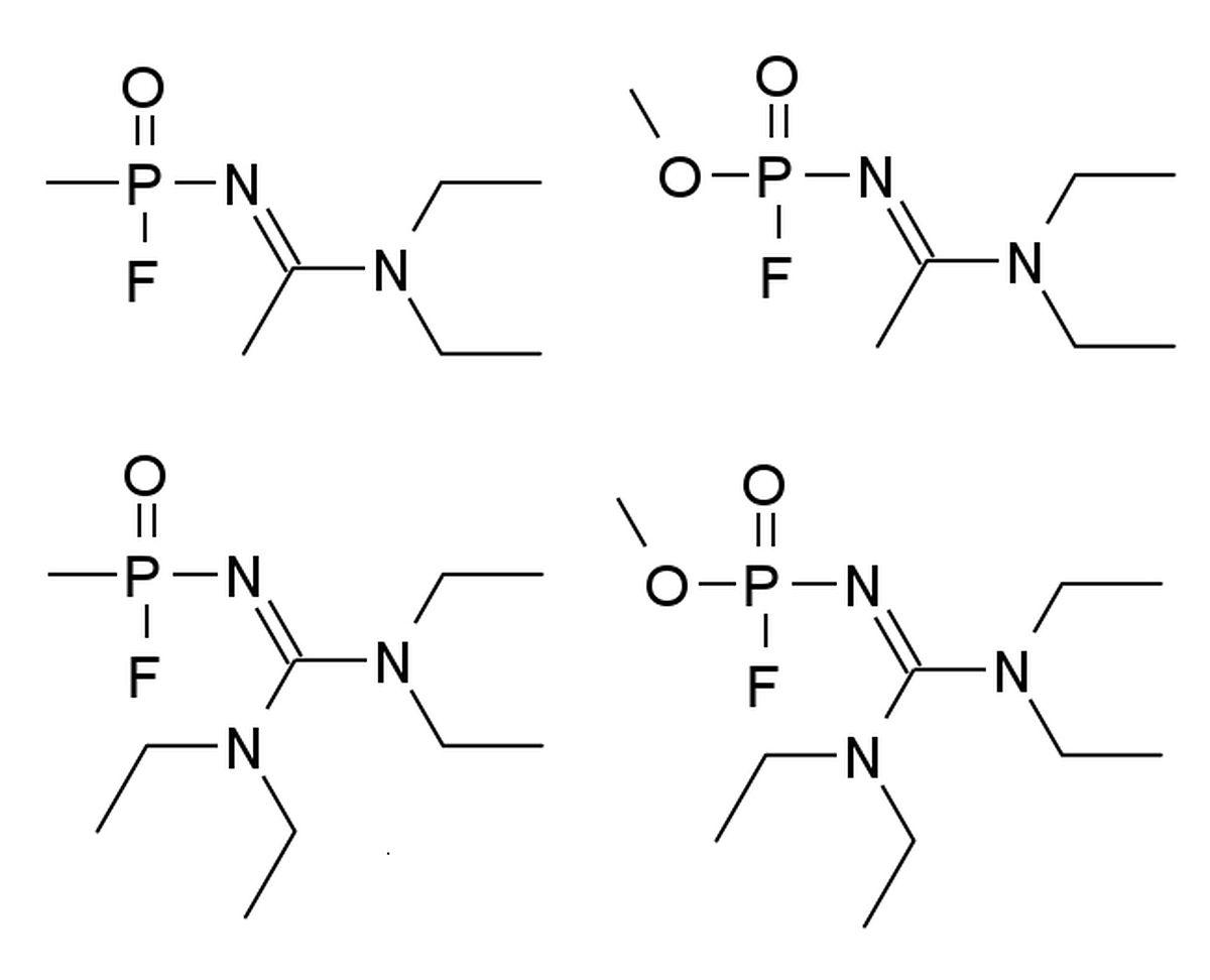 Die angenommenen Strukturformeln einiger Nowitschok-Varianten. Die genaue Struktur wird auch im Westen bis heute geheim gehalten.