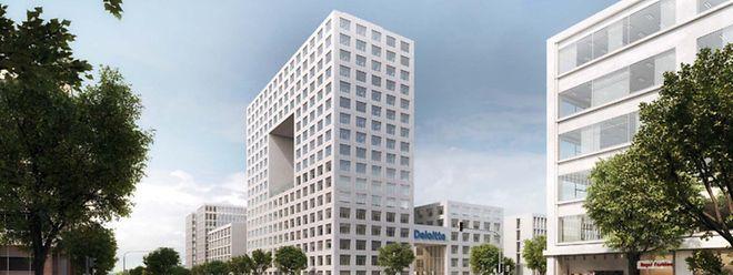 Der Komplex umfasst zwei Gebäude. Das hier links sichtbare ist 17 Stockwerke hoch. Beide Gebäude sind im vierten Stock miteinander verbunden.