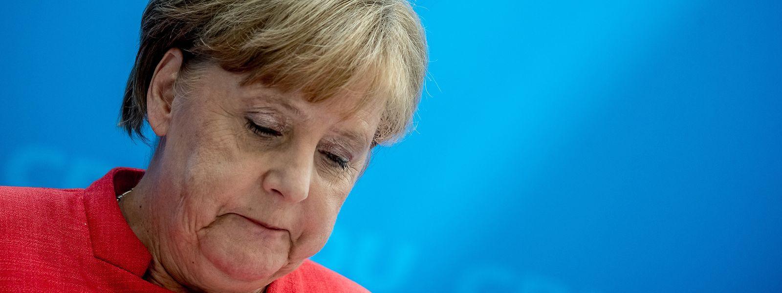 Angela Merkel, Bundeskanzlerin und CDU-Bundesvorsitzende, spricht bei einer Pressekonferenz nach der Sitzung des CDU-Bundesvorstands im Konrad-Adenauer-Haus in Berlin.