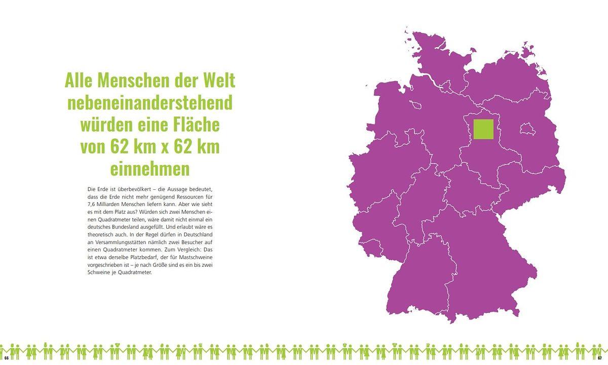 Wie viel Fläche wäre notwendig, um die gesamte Weltbevölkerung zu versammeln? Ein Areal von gerade einmal 3844 Quadratkilometern – eine Fläche, 1,5 mal so groß wie das Saarland.