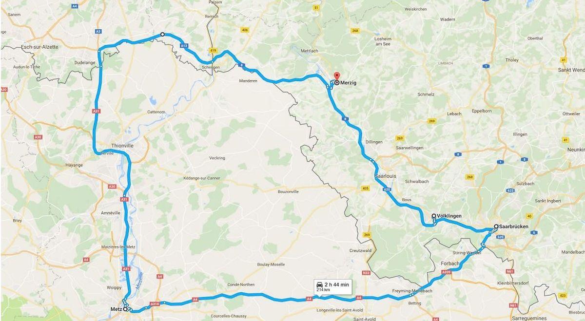 Délimitation de la zone de test pour les véhicules autonomes conclue entre l'Allemagne, la France et le Luxembourg.
