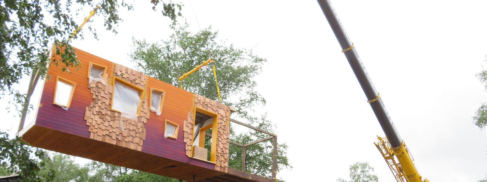 """Am Mittwoch wurden Bauteile des """"Baumhauscafé"""" entladen. Nächste Woche werden sie auf Holzstelzen errichtet."""