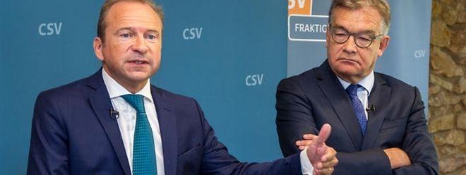 Die CSV-Abgeordneten Gilles Roth (l.) und Laurent Mosar legen Vorschläge im politischen Teilbereich Justiz auf den Tisch.
