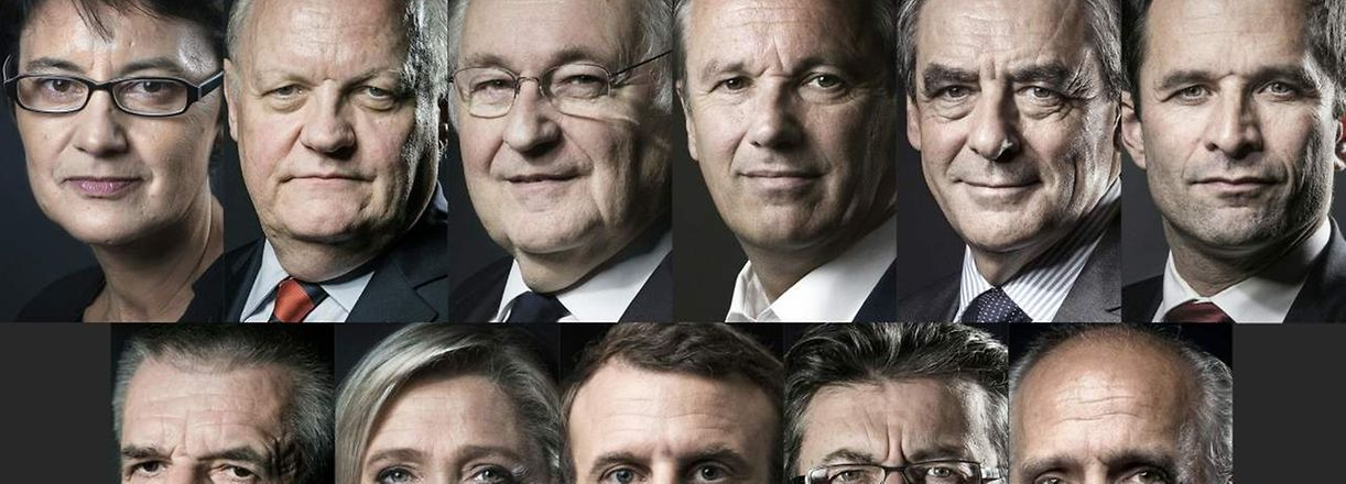 (FILES) This file photo taken on April 13, 2017 shows a combination of file pictures created on April 13, 2017 of the eleven candidates approved to run for French president as announced by the Constitutional Council on March 18. From Top L to bottom R arranged in alphabetical order : far-left Lutte Ouvriere (LO) party Nathalie Arthaud, Popular Republican Union (UPR) party Francois Asselineau, Solidarite et Progres (Solidarity and Progress) party Jacques Cheminade, right-wing Debout la France (DLF) party Nicolas Dupont-Aignan, right-wing Les Republicains (LR) party Francois Fillon, left-wing French Socialist (PS) party Benoit Hamon, independent candidate Jean Lassalle, far-right Front National (FN) party Marine Le Pen, En Marche ! movement Emmanuel Macron, far-left coalition La France insoumise Jean-Luc Melenchon and far-left New Anticapitalist Party (NPA) Philippe Poutou. The 11 presidential election candidates will take part in a final tv show on April 20, 2017 in Paris. / AFP PHOTO / JOEL SAGET AND Eric FEFERBERG