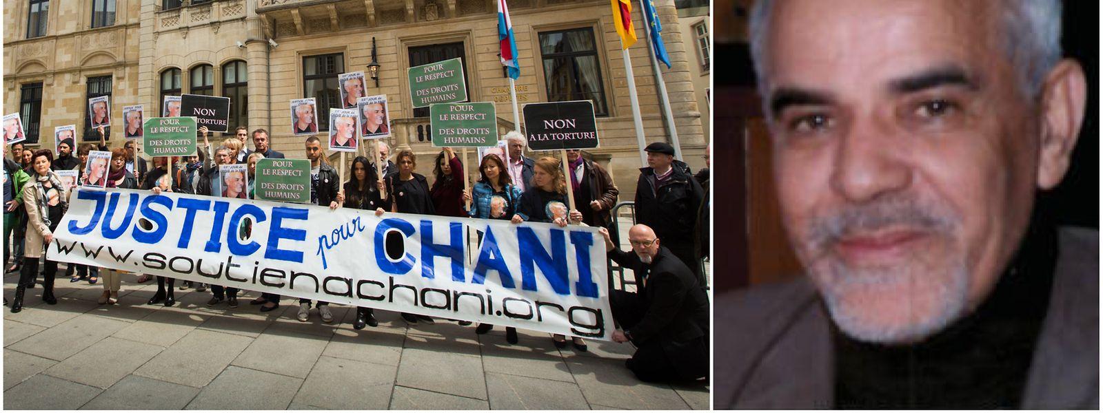 Ein Unterstützerkomitee demonstriert im Juni 2015 vor der Chamber für die Freilassung von Majdoub Chani.