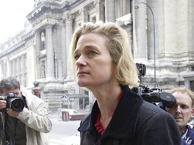 Delphine Boel bei der Ankunft vor Gericht in Brüssel.