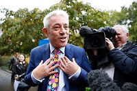 "Speaker of the House of Commons John Bercow speaks to the media outside the Houses of Parliament in central London on September 24, 2019 after the judgement of the court on the legality of Boris Johnson's advice to the Queen to suspend parliament for more than a month, as the clock ticks down to Britain's October 31 EU exit date. - Britain's Supreme Court on September 24 said that parliamentarians could reconvene ""as soon as possible"" after ruling that a decision by Prime Minister Boris Johnson to suspend parliament was unlawful. (Photo by Tolga AKMEN / AFP)"