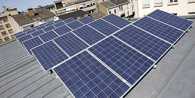 Solar cells on a roof in Luxembourg