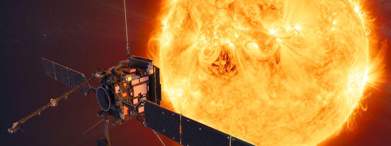 Auf einer besonders heißen Mission: die Raumsonde Solar Orbiter vor der Sonne.