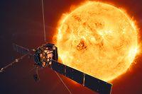 HANDOUT - 18.10.2019, ---: Die Sonde Solar Orbiter vor der Sonne (undatierte Grafik). Eine europäische Raumsonde mit in Kiel entwickelten Messgeräten soll am Montag, den 10.02.2020, um 5.03 Uhr mitteleuropäischer Zeit von Cape Canaveral im US-Bundesstaat Florida ins All starten. Foto: ATG medialab/ESA/dpa - ACHTUNG: Nur zur redaktionellen Verwendung und nur mit vollständiger Nennung des vorstehenden Credits +++ dpa-Bildfunk +++