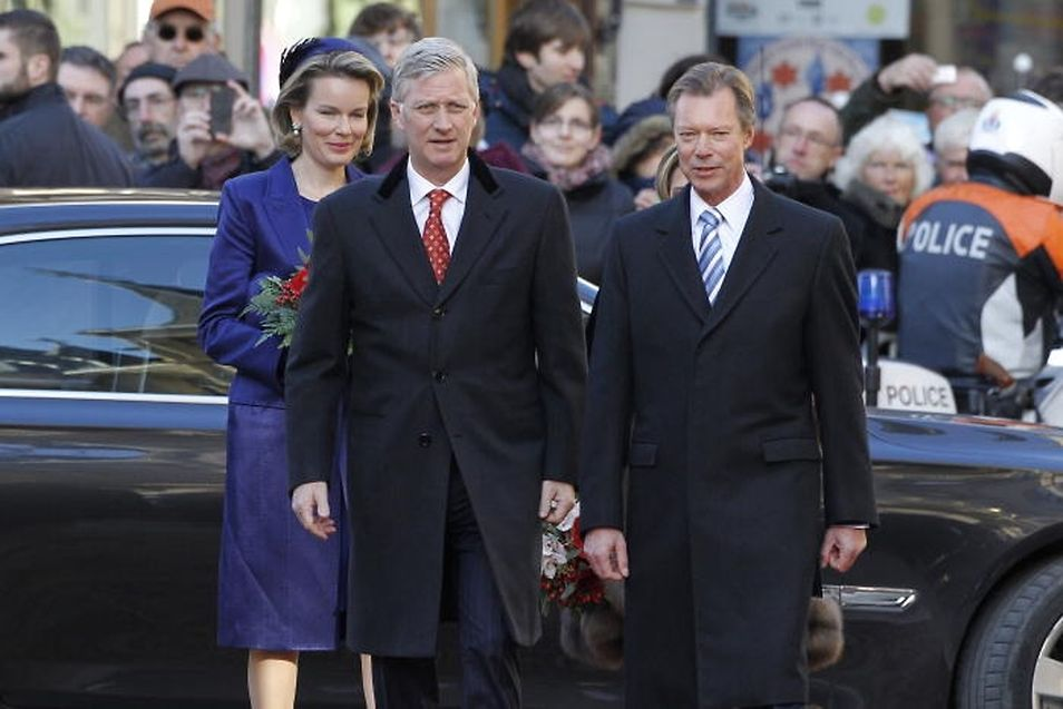King Philippe and Queen Mathilde on Belgium with Luxembourg's Grand Duke Henri