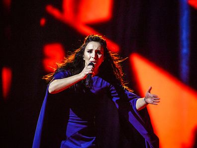 "Ukraine's Jamala performs her winning song ""1944"" during the Eurovision Song Contest final at the Ericsson Globe Arena in Stockholm, Sweden, May 14, 2016. TT News Agency/Maja Suslin/via REUTERS 