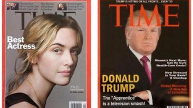 """Links das echte Cover des """"Time Magazine"""" vom 1. März 2009, rechts das Fake-Cover mit demselben Datum"""