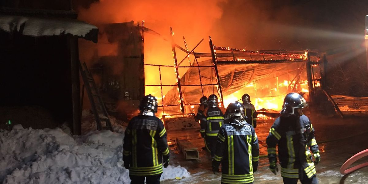 Die halbe Nacht über war die Feuerwehr damit beschäftigt, die brennende Schreinerei in Ulflingen zu löschen.