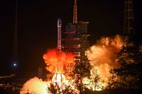 (FILES) This file picture taken early on December 8, 2018 shows a Long March 3B rocket, transporting the Chang'e-4 lunar rover, lifting off from the Xichang launch centre in Xichang in China's southwestern Sichuan province. - China's Chang'e-4 lunar rover landed on the far side of the moon on January 3, 2019, the first probe to do so, state broadcaster CCTV reported. (Photo by STR / AFP) / China OUT