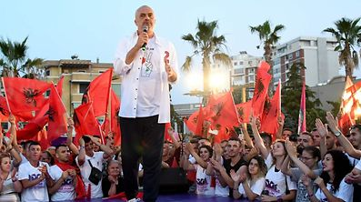 Albania's Prime Minister Edi Rama delivers a speech during a campaign rally held ahead of the upcoming general election in Durres on June 21, 2017