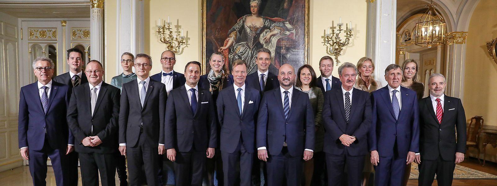 Le gouvernement Bettel II au complet lors de sa nomination en décembre 2018