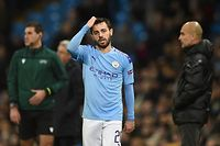 (FILES) In this file photo taken on November 26, 2019 Manchester City's Portuguese midfielder Bernardo Silva reacts during the UEFA Champions League football Group C match between Manchester City and Shakhtar Donetsk at the Etihad Stadium in Manchester, north west England - Manchester City said they would appeal to the Court of Arbitration for Sport after being hit with a two-season ban from European competition on Friday, February 14. (Photo by Oli SCARFF / AFP)