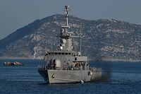 The Hellenic Navy Roussen or Super Vita class Fast Missile Patrol Boat P 71 HS Ritsos patrols off the tiny Greek island of Kastellorizo (Megisti), in the Dodecanese, the furthest south eastern Greek Island, two kilometers from the Turkish mainland on August 28, 2020. (Photo by Louisa GOULIAMAKI / AFP)