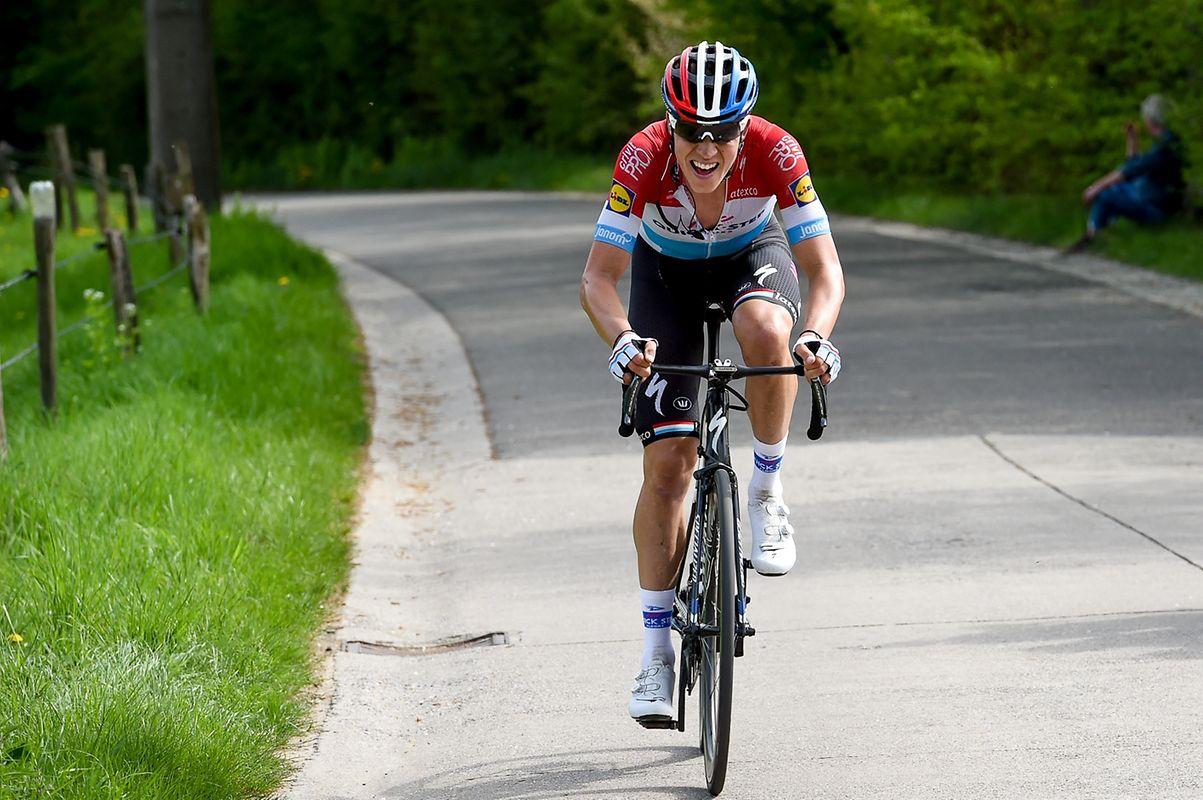 Bob Jungels (Quick-Step) setzte sich in der Côte de la Roche-aux-Faucons vom Hauptfeld ab.