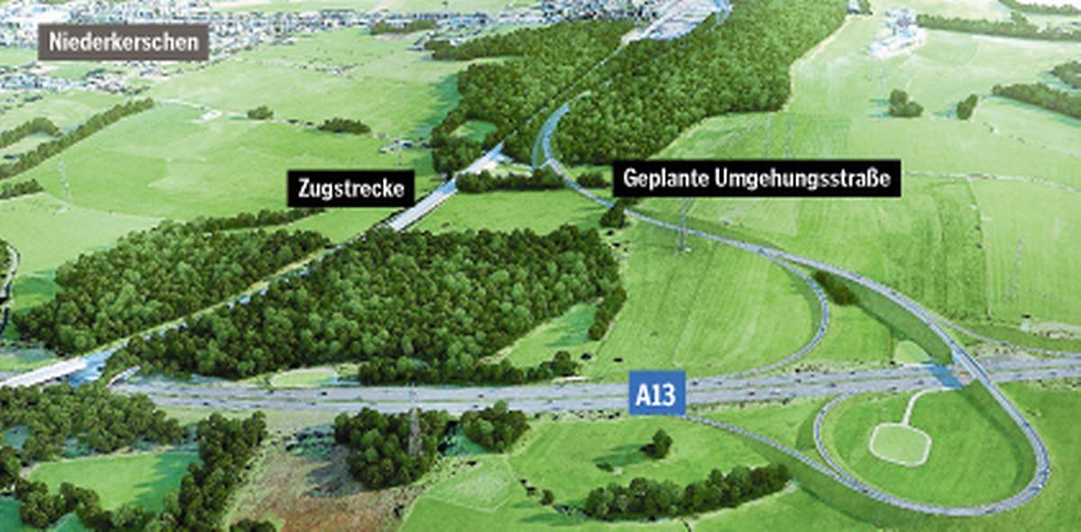 Ein Anschluss der Umgehungsstraße ist an die A13 geplant.