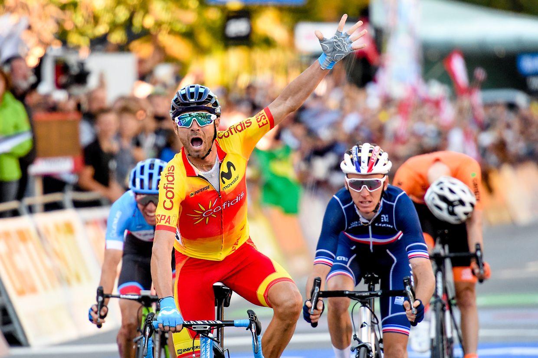 Alejandro Valverde siegte vor Romain Bardet (r.) und Michael Woods (l.).