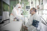 Lokales, Corona-Virus Covid19,  Covid-Intensivstation CHDN Ettelbrück, ( schriftliches Einverständnis des Patienten zur Publikation )Foto: Guy Wolff/Luxemburger Wort