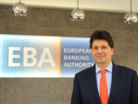 European Banking Authority (EBA) chief Adam Farkas poses for a picture at the EBA offices in London's Canary Wharf financial district