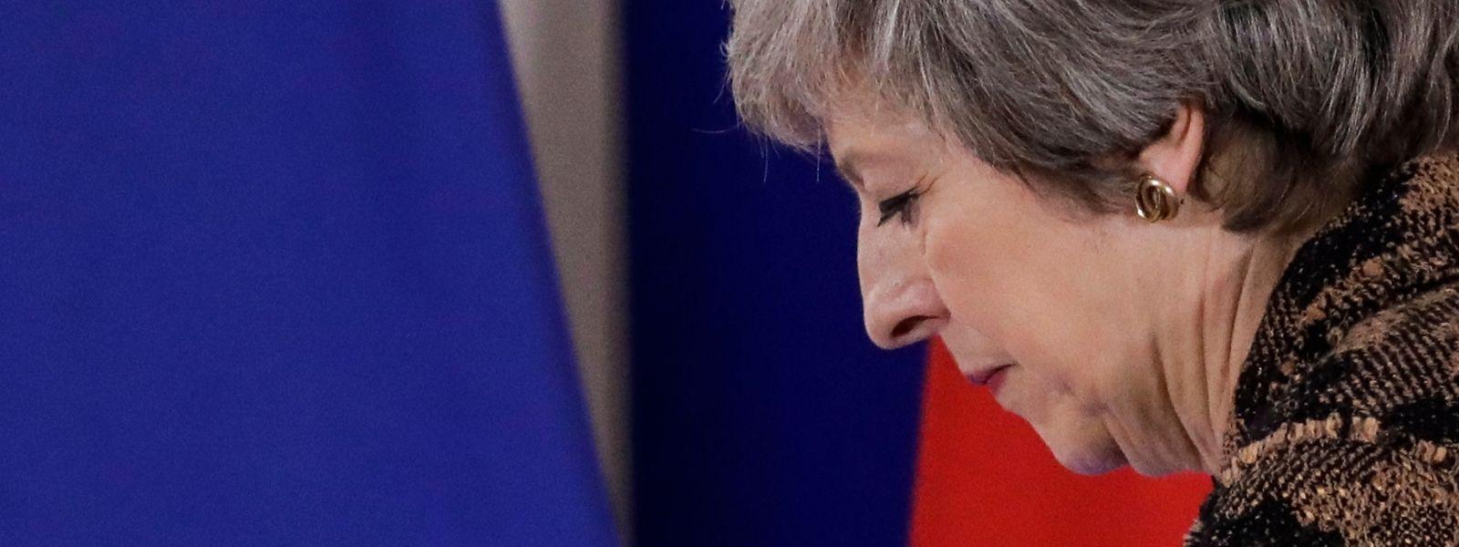 Theresa May, Premierministerin von Großbritannien, bei einer Pressekonferenz während des EU-Gipfels.
