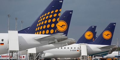 Lufthansa airplanes at the international airport in Munich, southern Germany