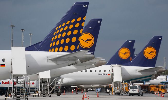 Lufthansa airplanes parked at the international airport in Munich, southern Germany