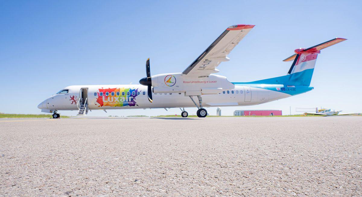 Mit der Havilland Q400 in den Farben des Regenbogens will Luxair ein Zeichen setzen.